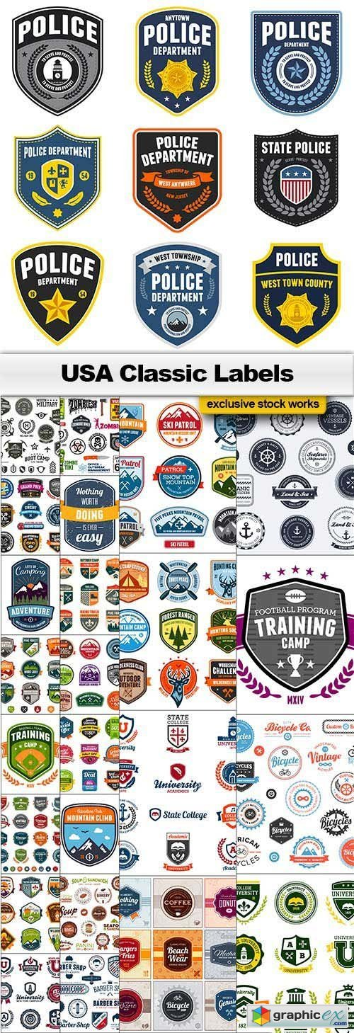 USA Classic Labels 25xEPS