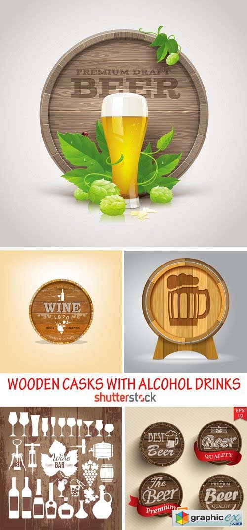 Amazing SS - Wooden casks with alcohol drinks, 22xEPS