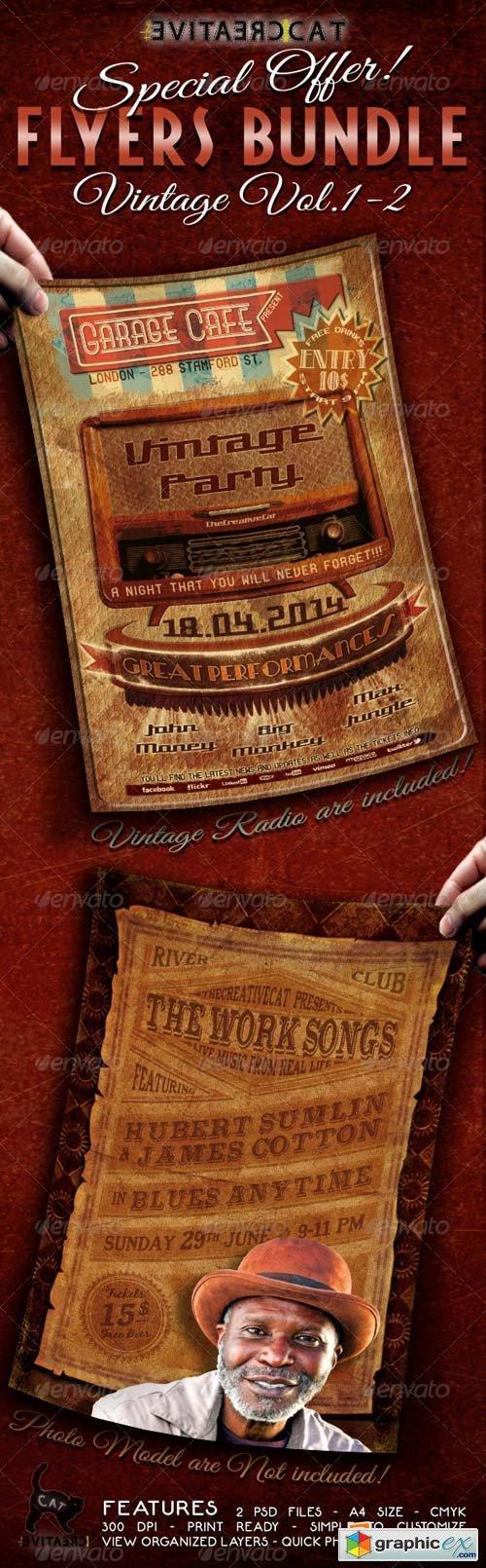 Vintage Flyer/Poster Bundle Vol.1-2