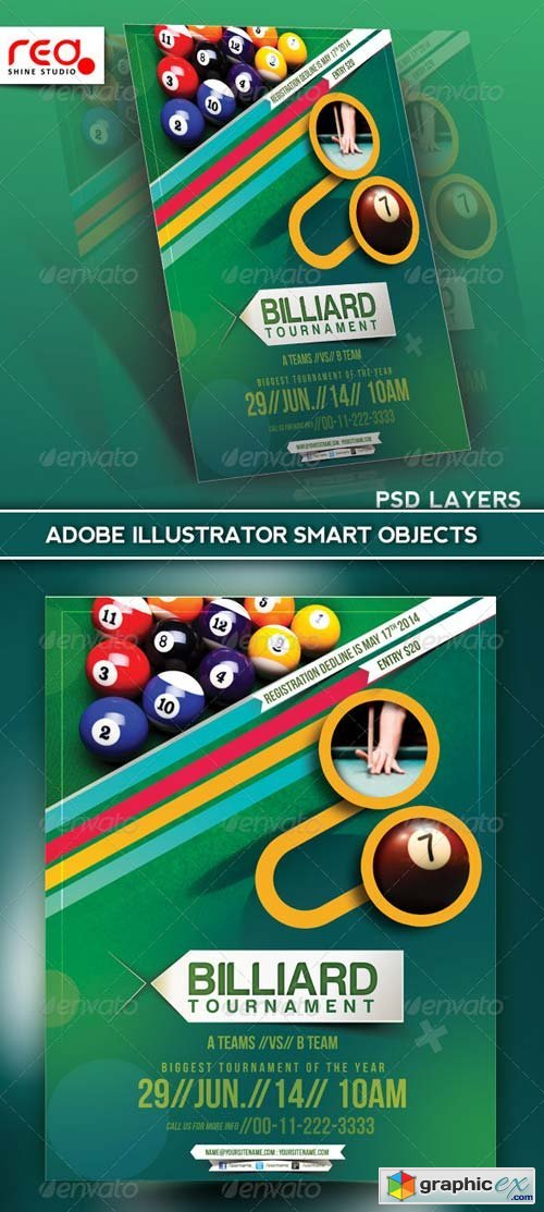Billiard Tournament Flyer Poster Magazine Template 187 Free