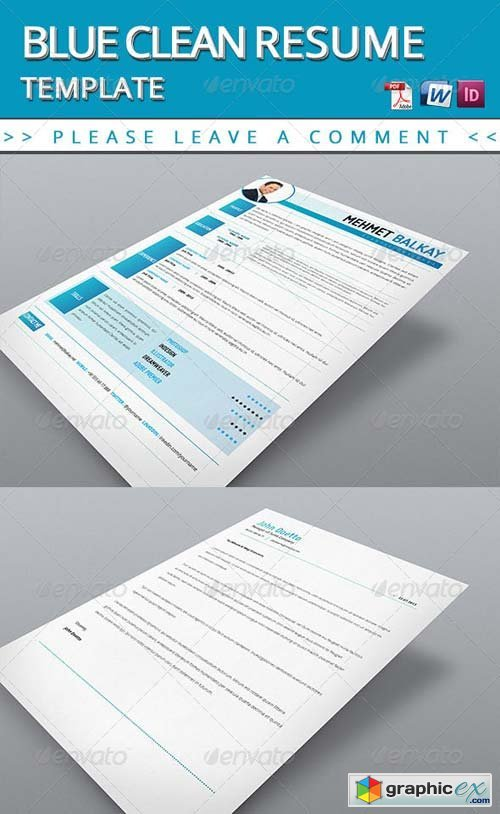 blue resume template free download vector stock image photoshop