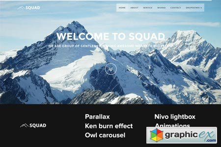 Squad one page Bootstrap template 43263