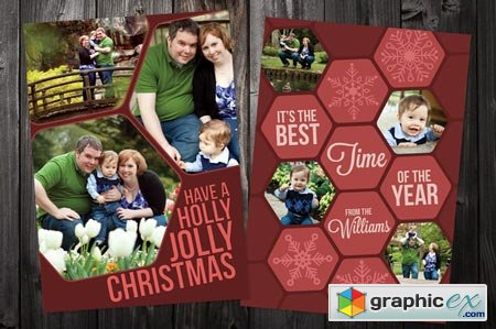 Hex 5x7 Xmas Card Template 14064