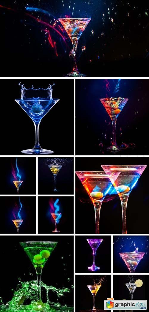 Cocktail Glass with Splashes & Lights 37xJPG