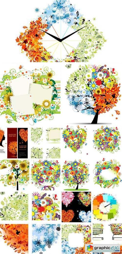 Four Season Floral Abstract Backgrounds 25xEPS