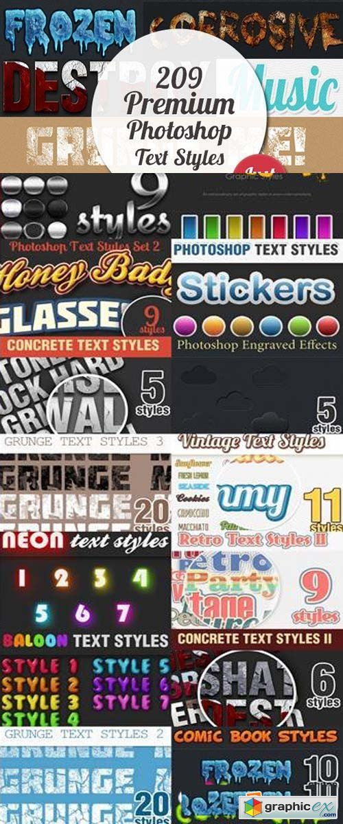 DesignTNT - 209 Premium Photoshop Text Styles