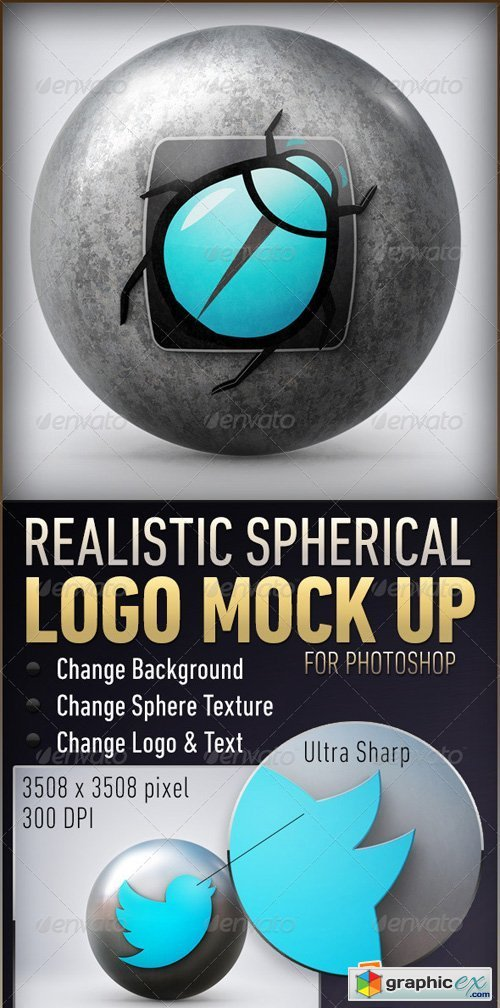 Logo on Sphere - PSD Logo Mockup Template