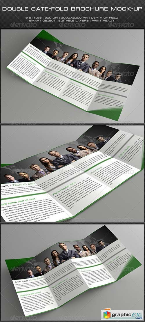 Double Gate-Fold Brochure Mock-Up