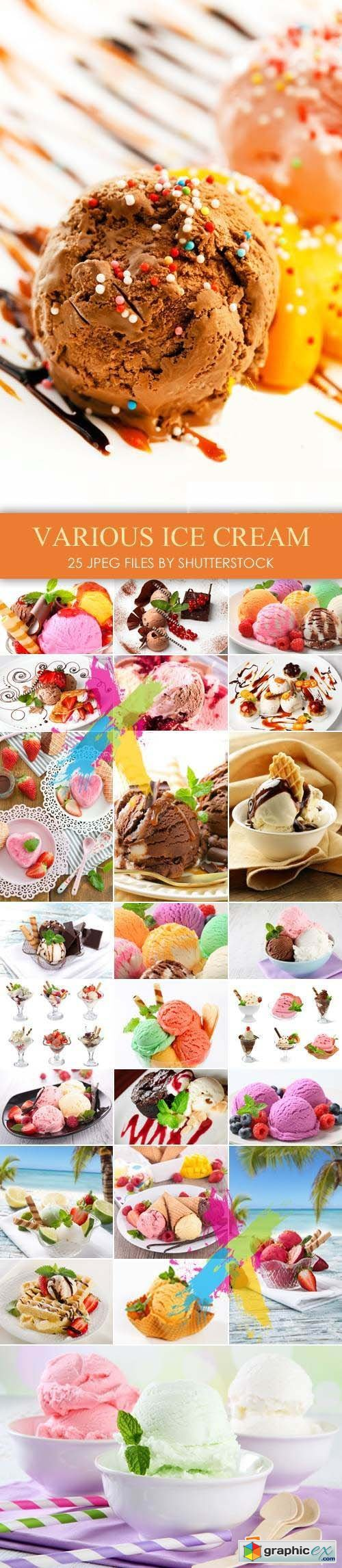 Stock Photo - Fruit, Chocolate, White Ice Cream