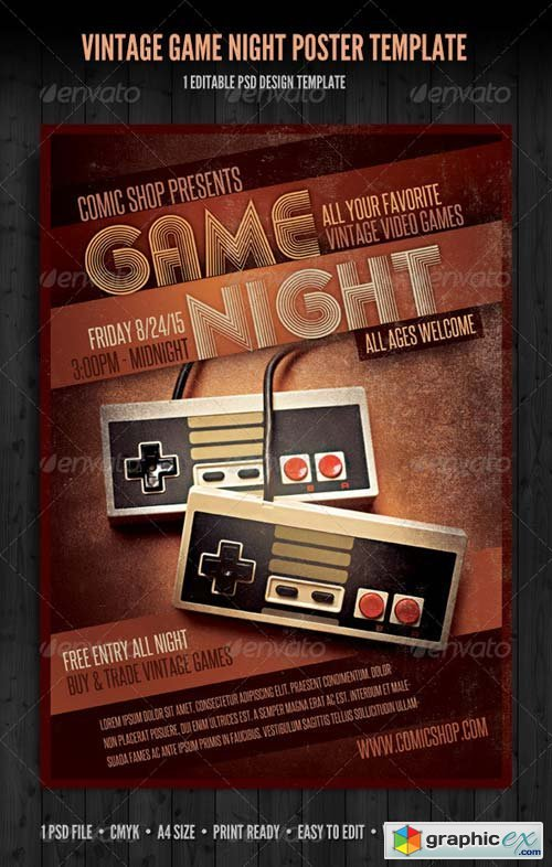 Vintage Game Night Poster Template Free Download Vector