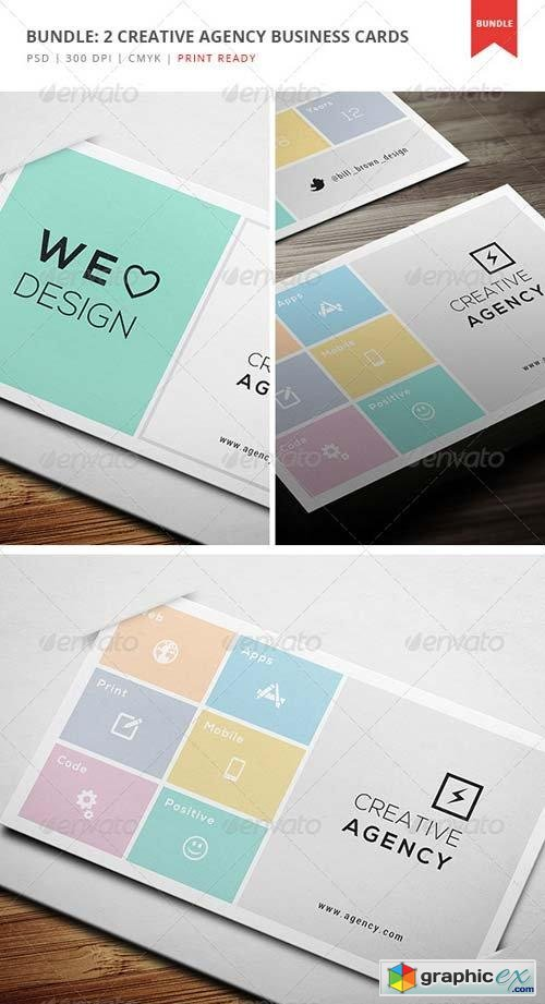Bundle: 2 Creative Agency Business Cards