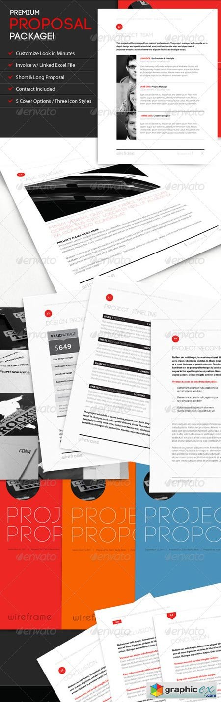 Wireframe Proposal Template w Invoice & Contract 544155