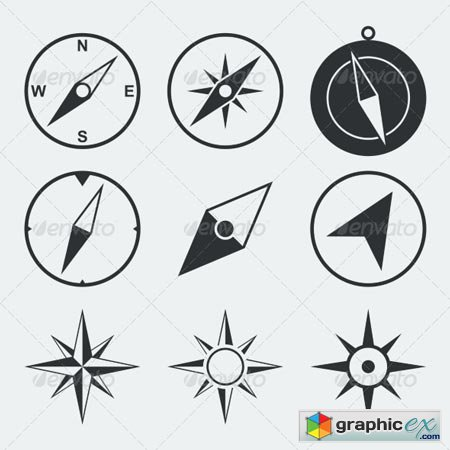 Navigation Compass Flat Icons Set 6958706