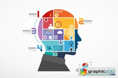 Infographic Head Jigsaw Concept. 35370