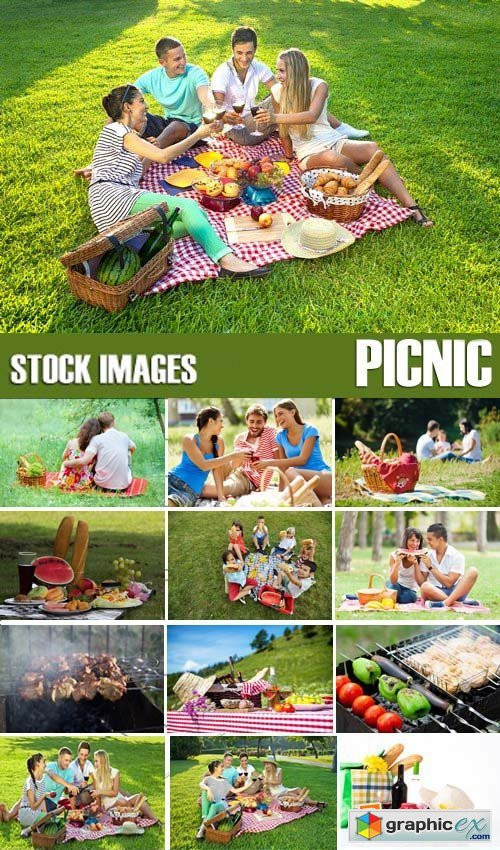 Stock Photos - Picnic, outing, family, 25xJPG