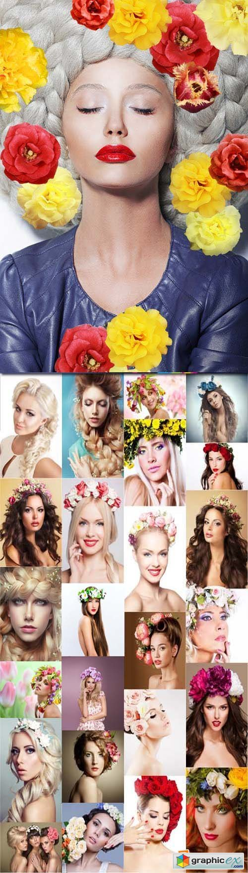 Beautiful women with wreath of flowers in hair, 25xJPGs