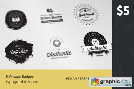 6 Vintage Typographic Logo Badges 51844