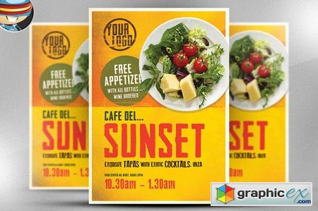 Cafe Sunset Poster Template 51865