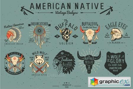 Native American Vintage Badges 52057