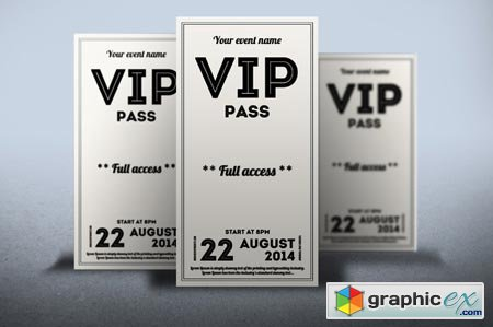 Clean retro style VIP PASS card 52108