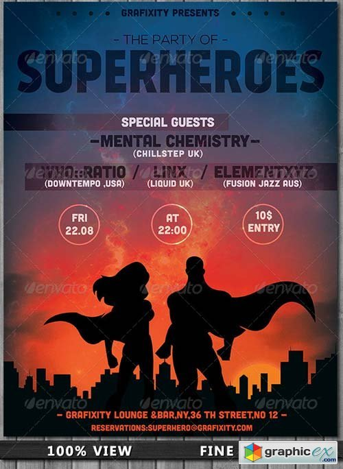 Superhero Themed Party Flyer Poster 187 Free Download