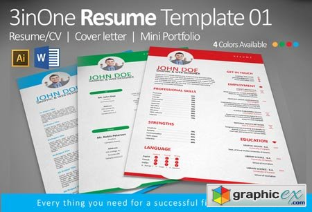 3inOne Resume Template 01 50754