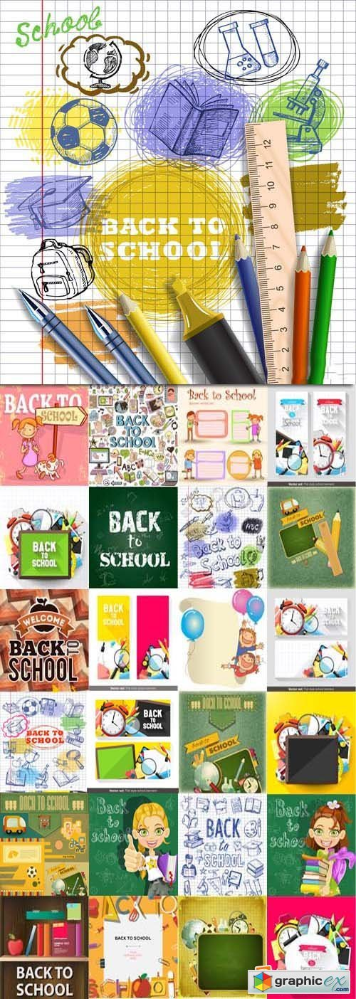 Back to school backgrounds and banners illustrations, 34xEPS