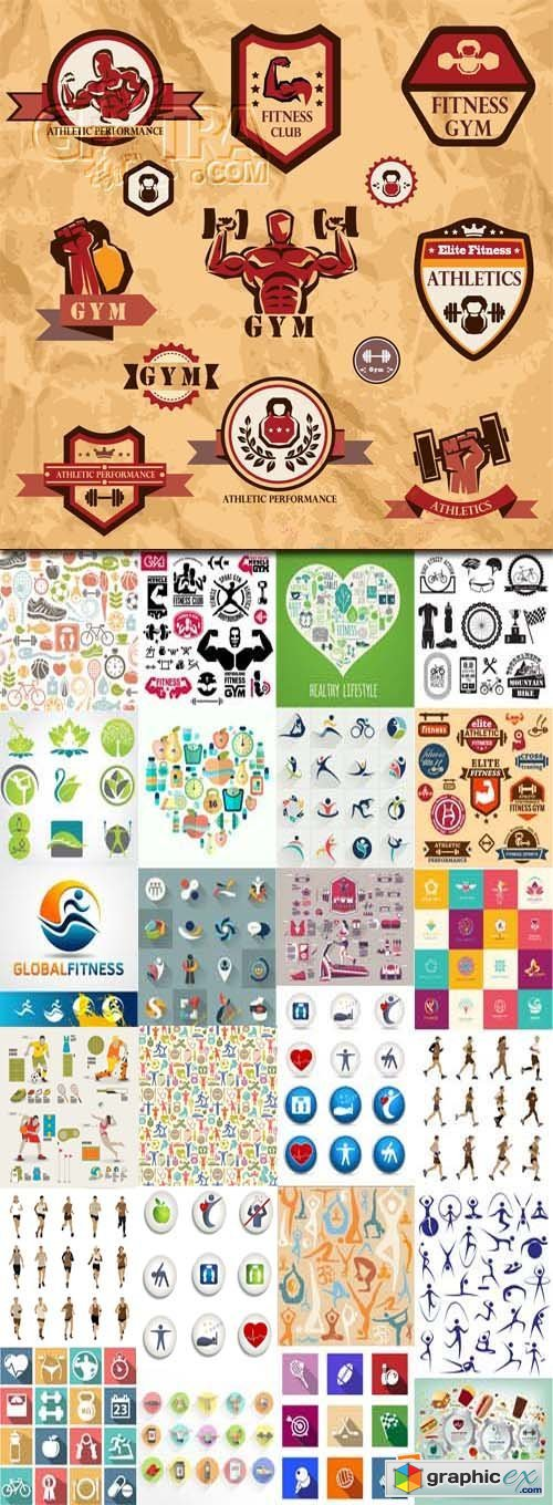 Gym, fitness, health emblems and icons, 25xEPS