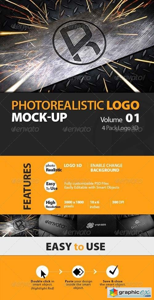 Photorealistic Logo 3D Mock-up Vol 1_Richhunter