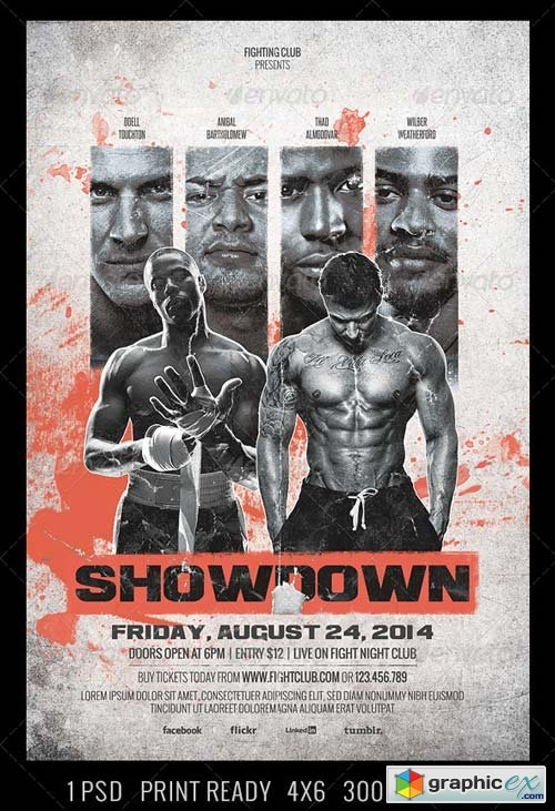 Showdown Fighting Club Flyer Template » Free Download Vector Stock ...
