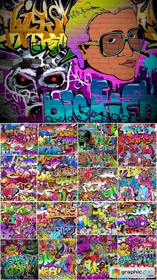 Graffiti Backgrounds in vector 25xEPS