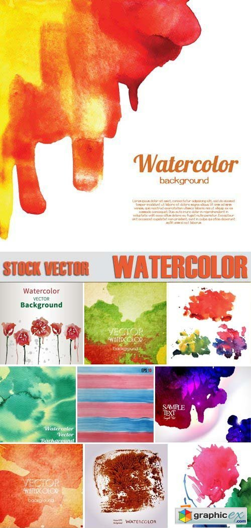 Stock Vectors - WaterColor, 25xEPS