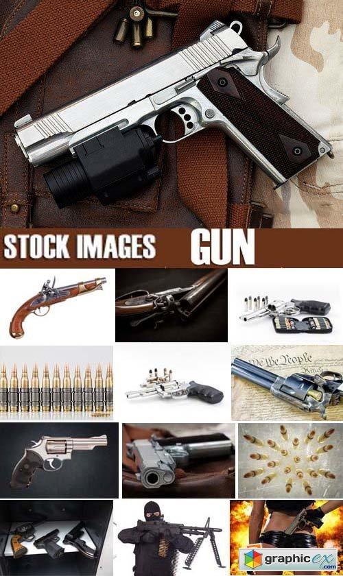 Stock Photos - Gun, weapon, 25xJPG