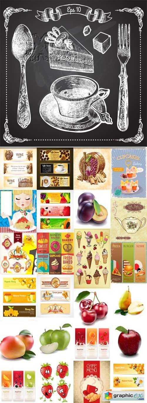 Food hand drawn banners, illustrations and elements, 25xEPS