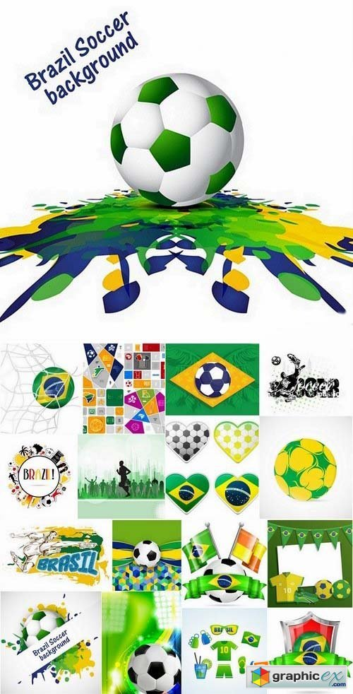 Brazil football world cup 2014 design elements in vector 3