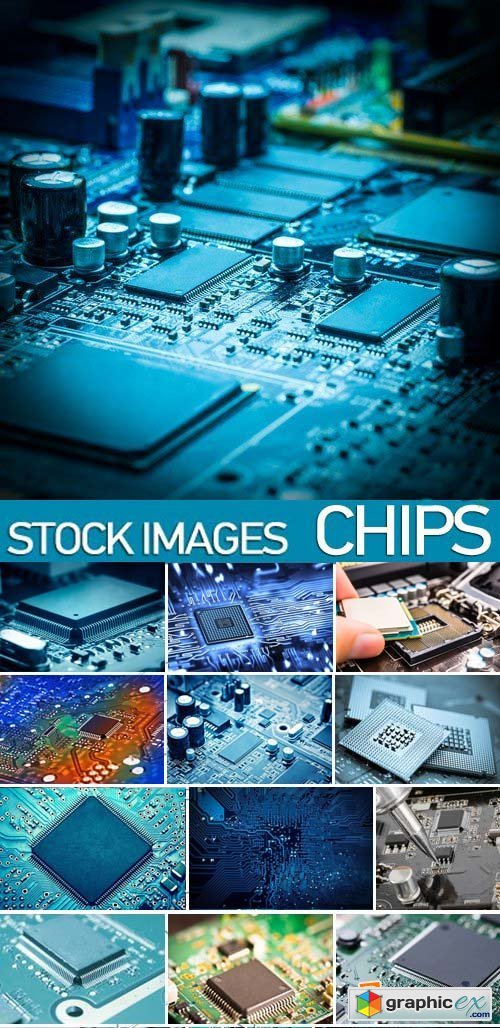 Stock Photos - Сhips, microcircuit, processor, 25xJPG