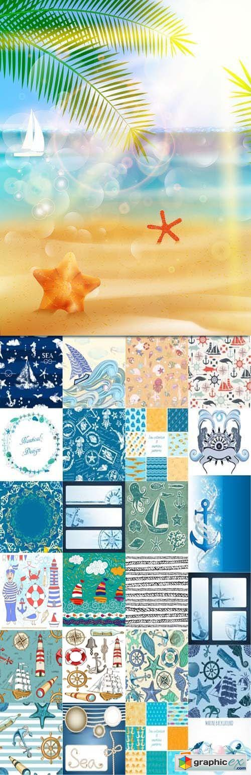 Marine design elements, backgrounds and banners 2, 25xEPS