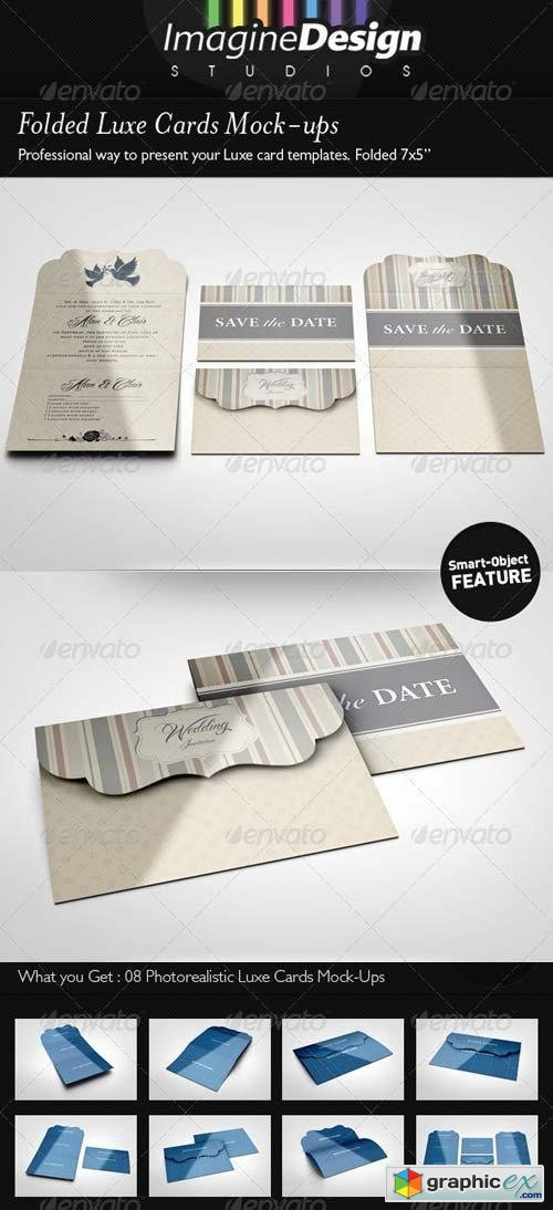 Folded Luxe Cards Mock-ups