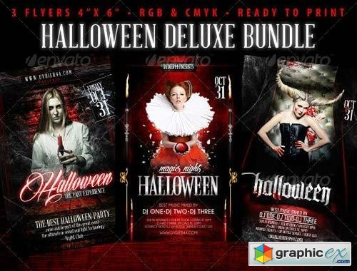 halloween deluxe bundle 4x6 flyer template free download vector