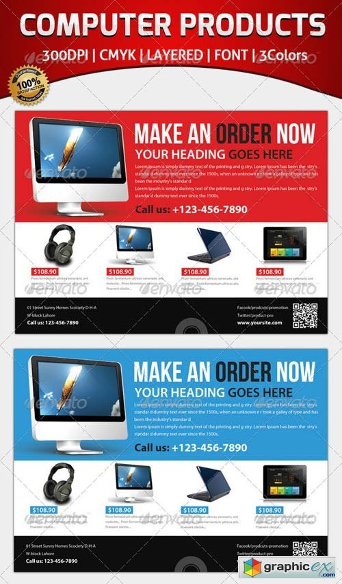Computer Products Flyer Template » Free Download Vector Stock ...