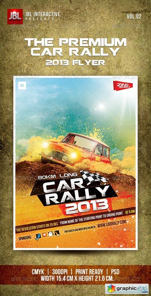 premium car rally flyer 2013 free download vector stock image