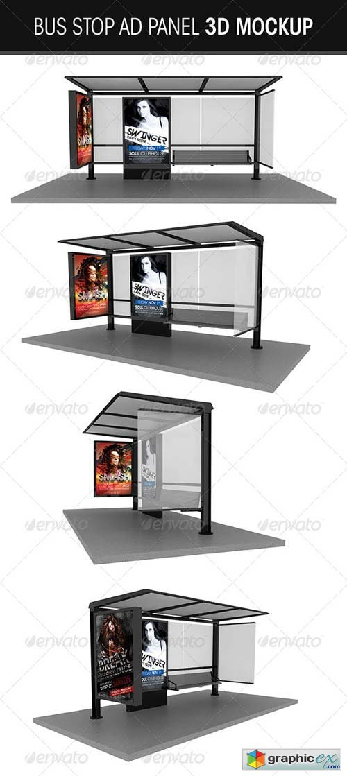 Bus Stop ad Vector Bus Stop ad Panel 3d Mockup