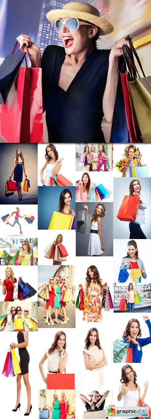 Happy smiling woman with shopping bags, 25xJPGs