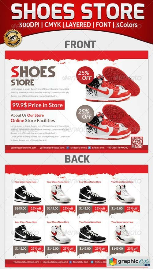 Product Shoes Flyer Template Free Download Vector Image – Free Product Flyer Templates