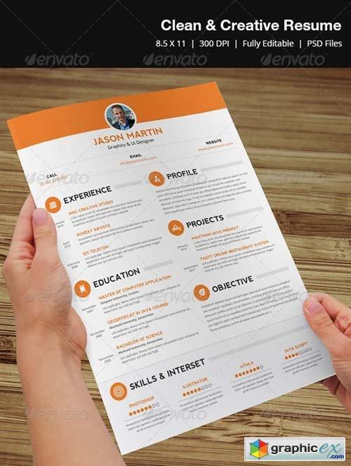 clean creative resume 187 free vector stock image