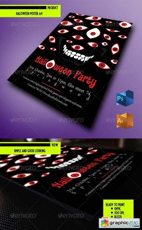 Halloween Flyer - Horror Vector Eyes