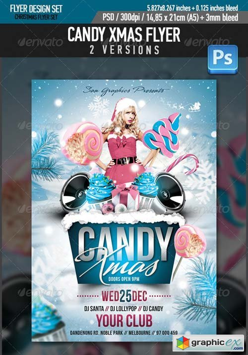 Candy Xmas Christmas Party Flyer Template Free Download Vector