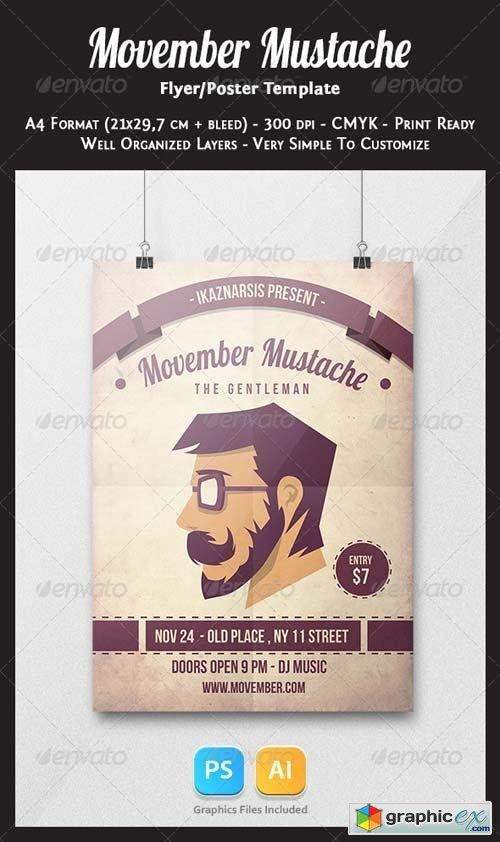 Movember Mustache Flyer Template