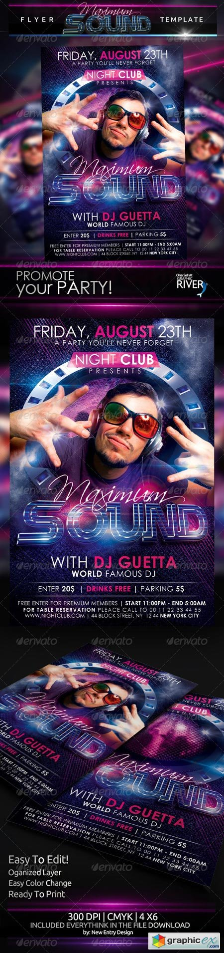 Maximum Sound Party Flyer Template 5224431
