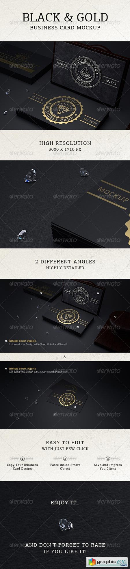 Photorealistic Black & Gold Business Card Mock Up 6400458
